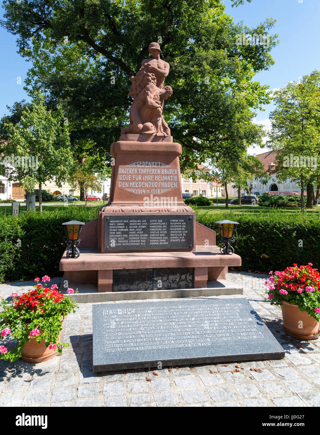 Monument for war favour in quarrel village in the Kamp, forest quarter, Lower Austria, Austria - World Being Memorial Stock Photo