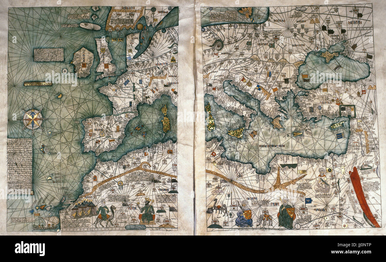 The Catalan Atlas, 1375. Attributed to the Majorcan Jewish cartographers  Abraham and Jehuda Cresques, was service of King of Aragon.