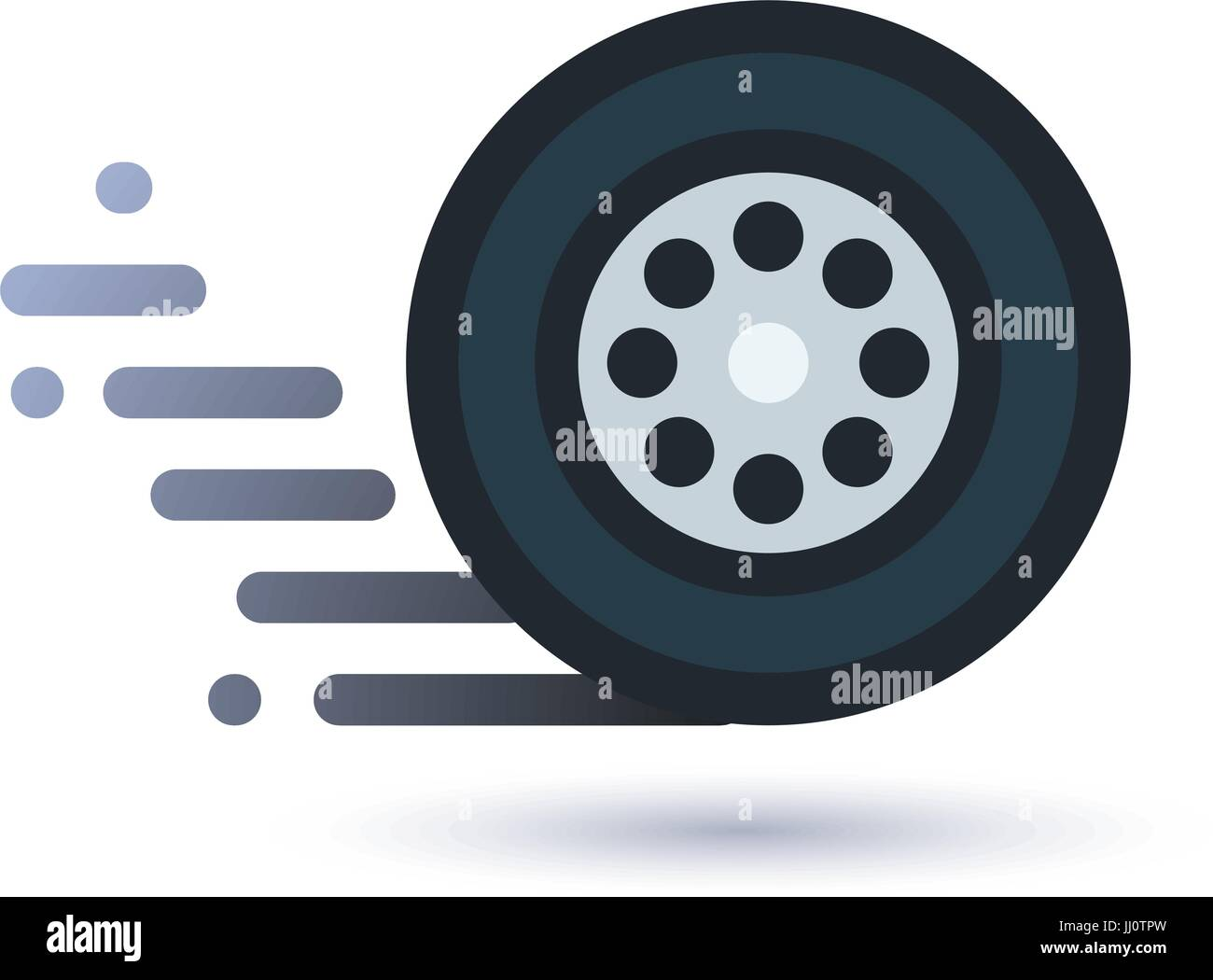 Twisting wheel icon - Stock Image