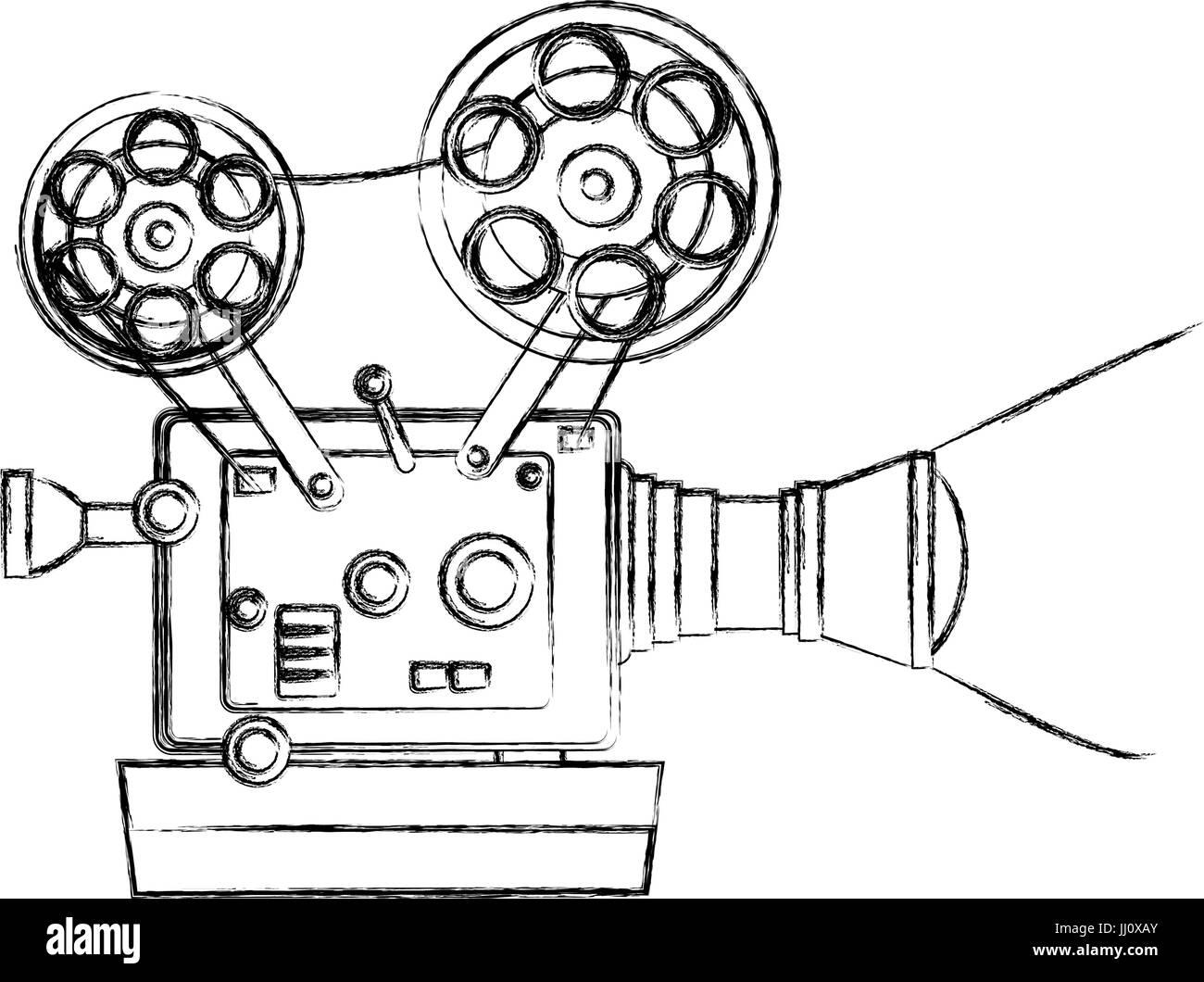 high detailed vintage film projector cinema icon Stock Vector Art ...