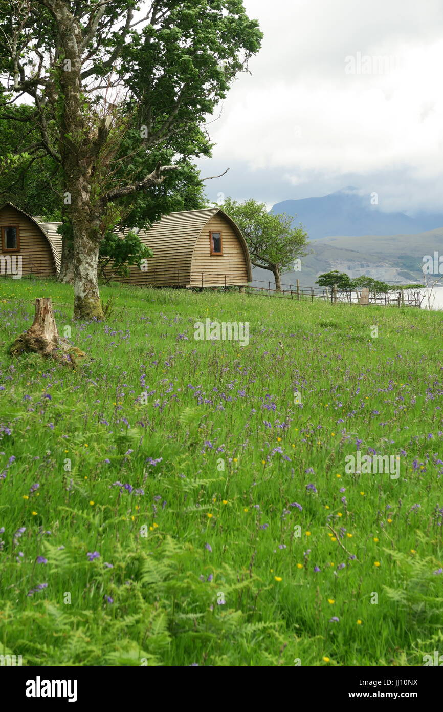 Glamping pods on the Isle of Raasay, Scotland - Stock Image