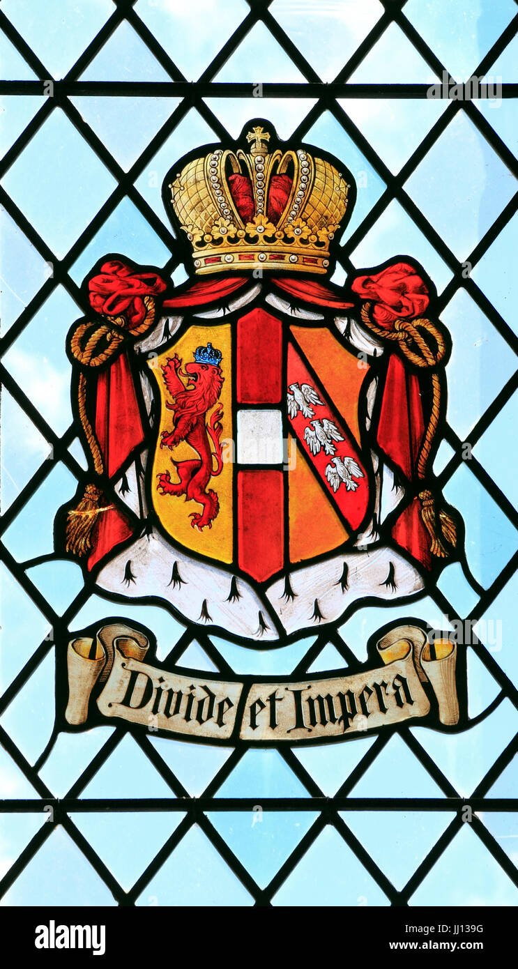 Divide et Impera, Divide and Rule, heraldic, motto, heraldry, stained glass window, East Barsham Manor, Norfolk, - Stock Image