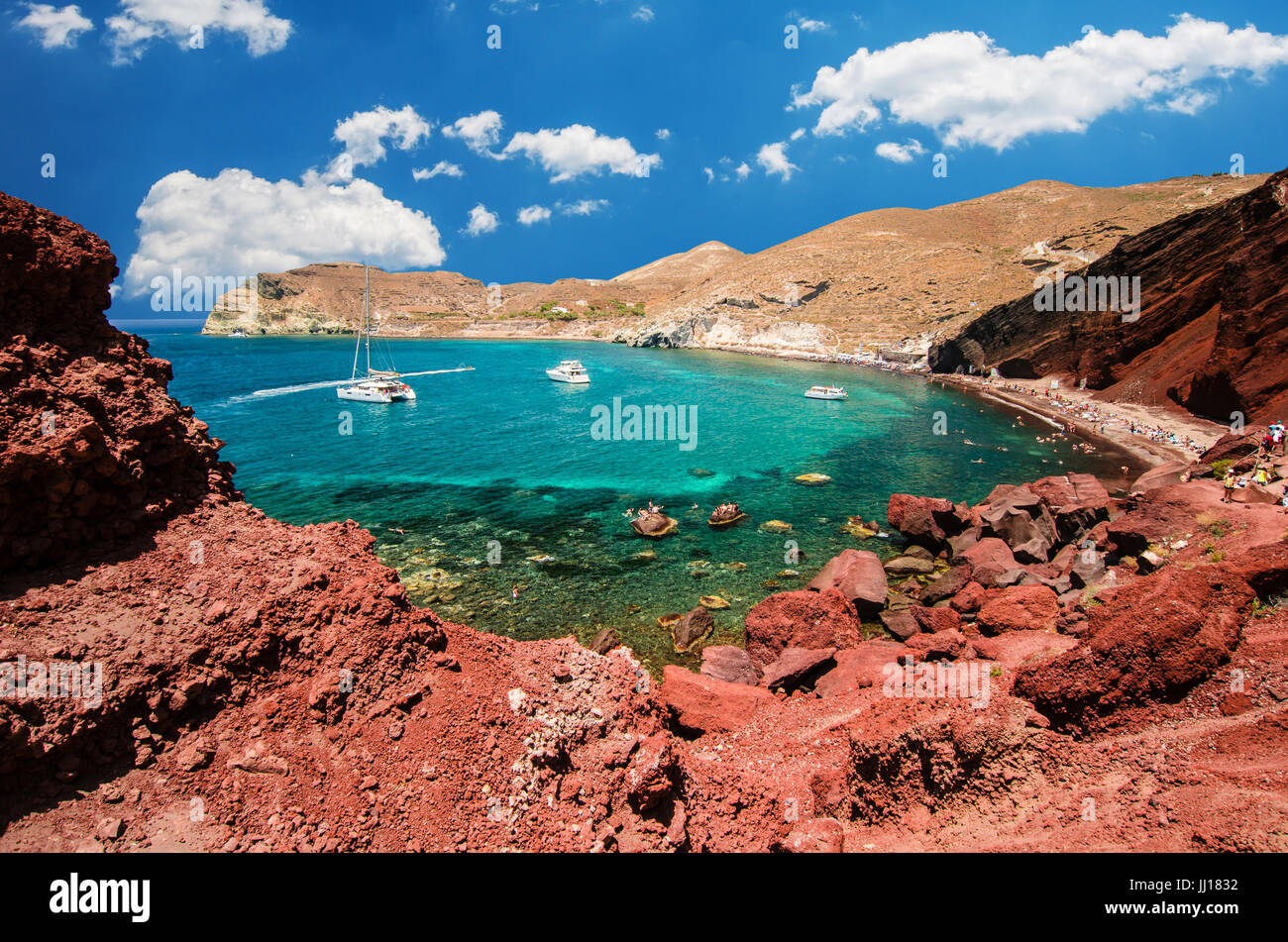 Red Beach Santorini Cycladic Islands Greece Beautiful Summer Landscape With One Of The Most Famous Beaches In World