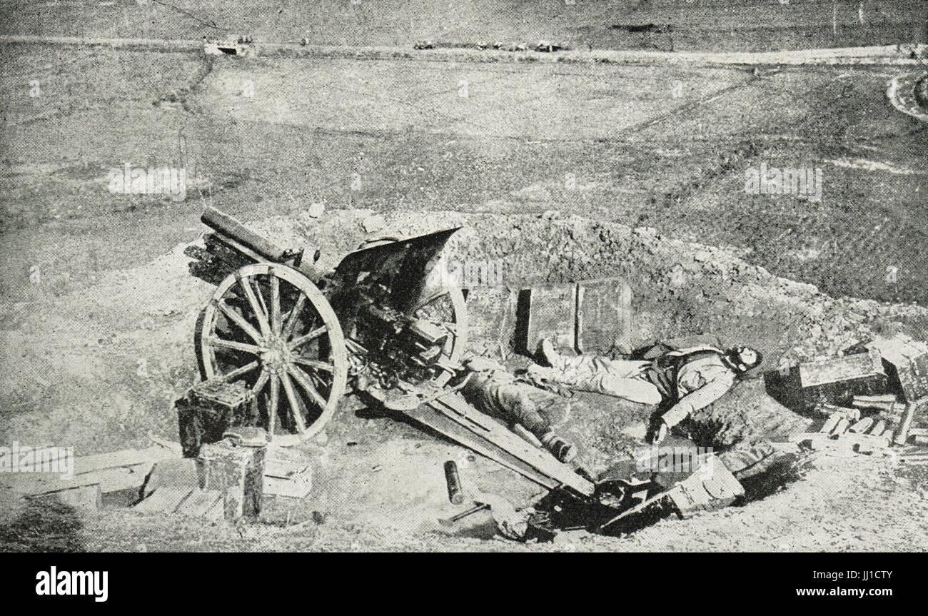 Serbian gunner left for dead at battle of  Kolubara - Stock Image