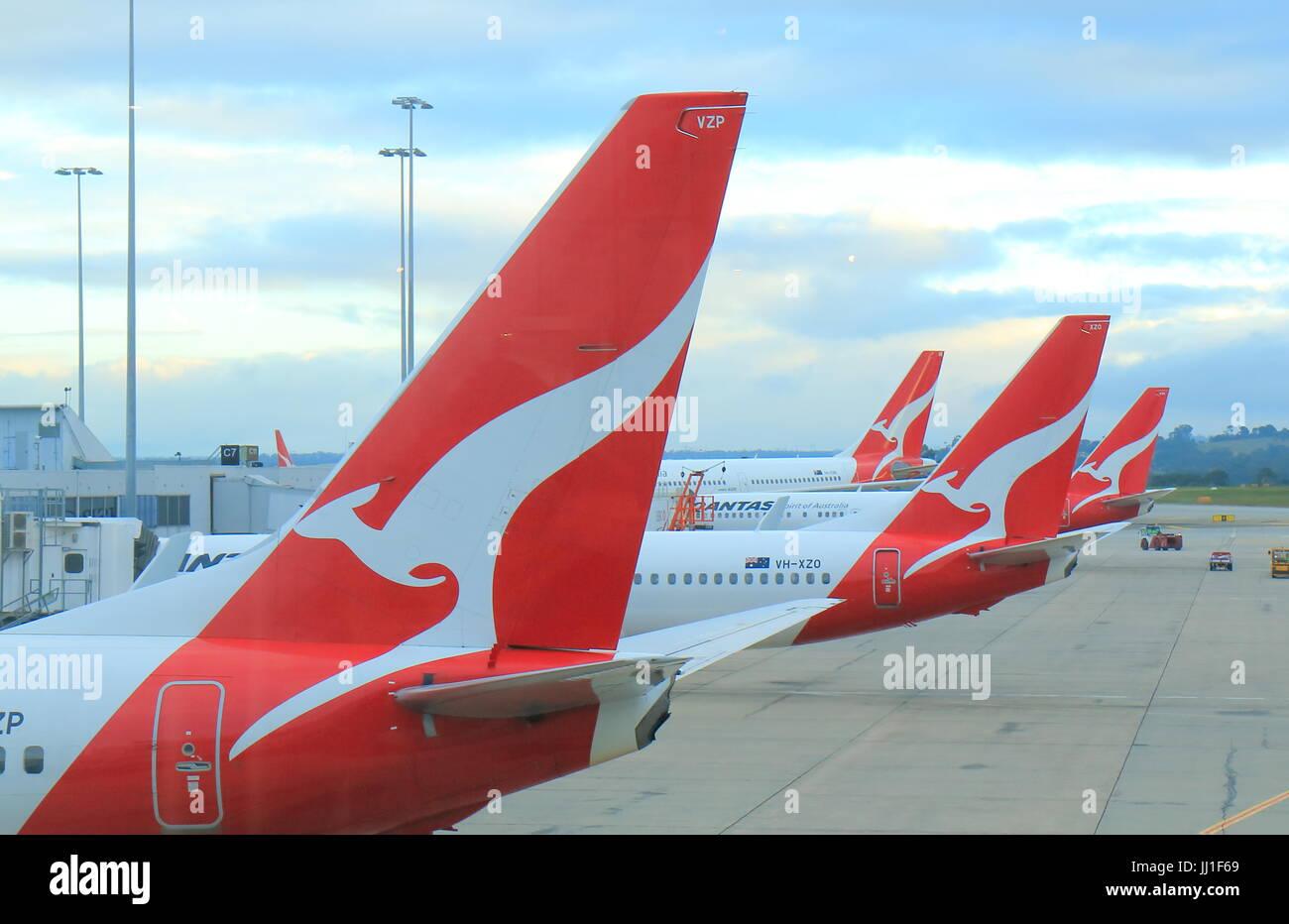 Qantas airplanes wait for departure at Melbourne Airport Australia. - Stock Image
