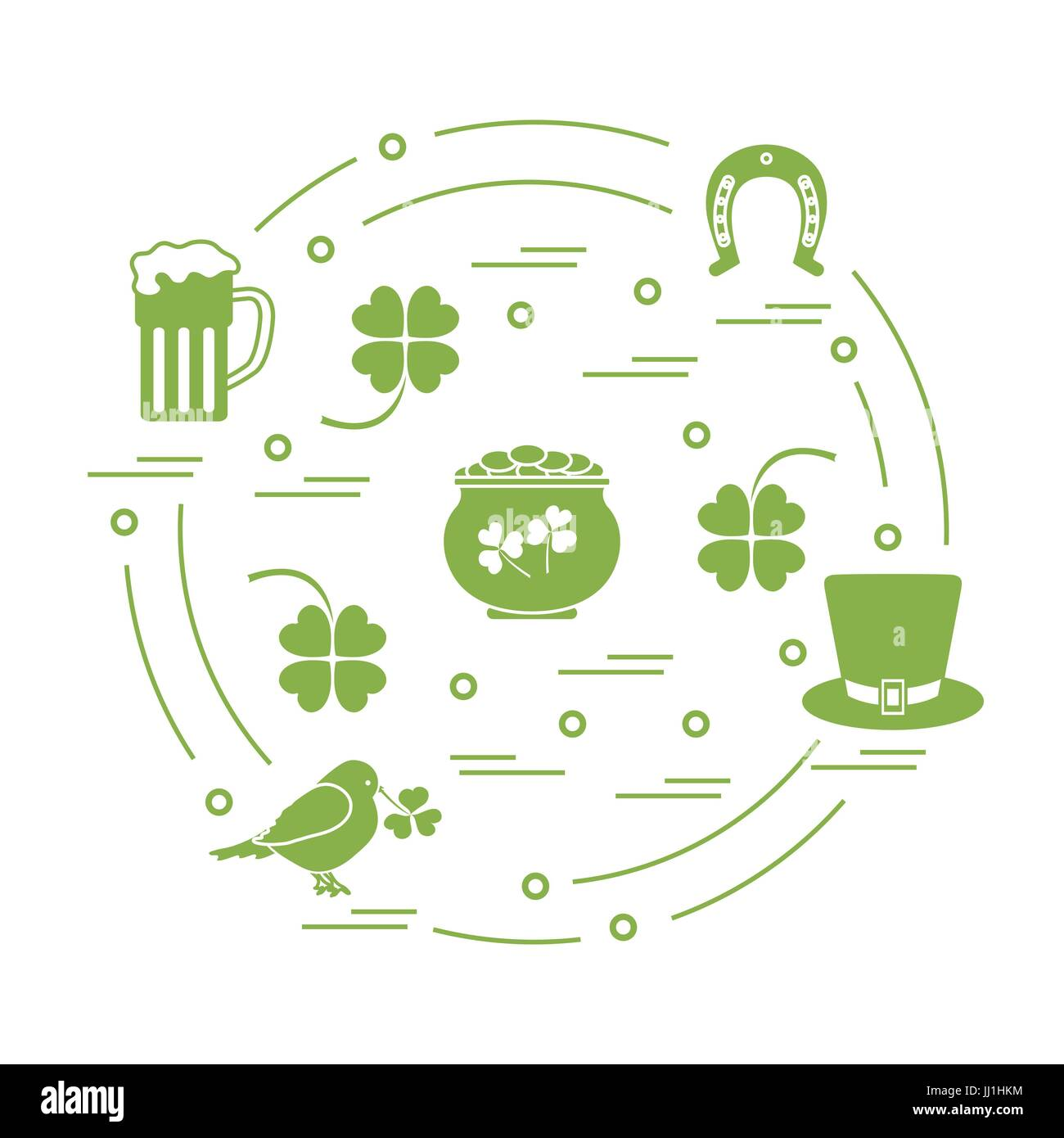 Cute Vector Illustration With Different Symbols For St Patricks