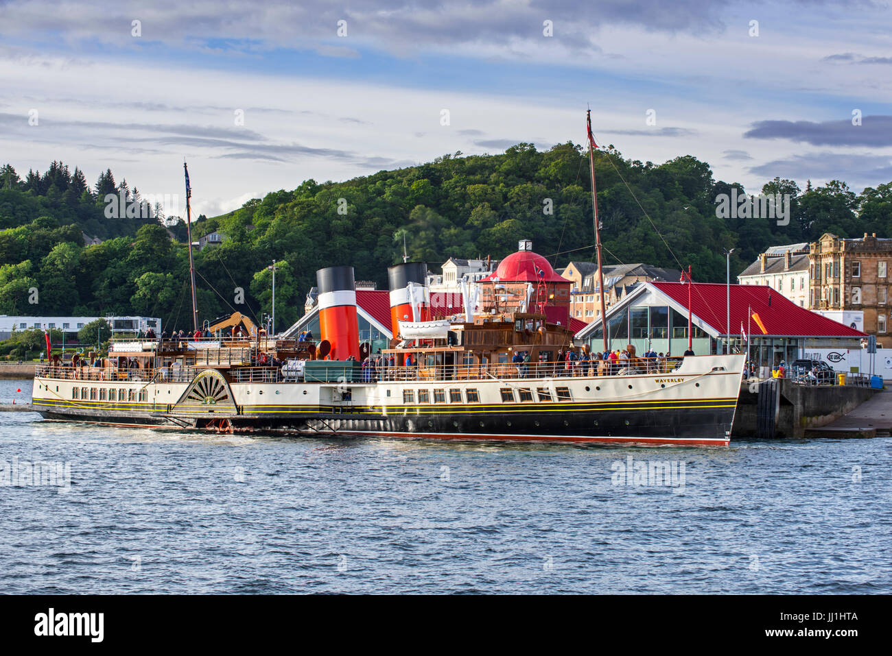 PS Waverley, last seagoing passenger-carrying paddle steamer in the port of Oban, Argyll and Bute, Scotland - Stock Image