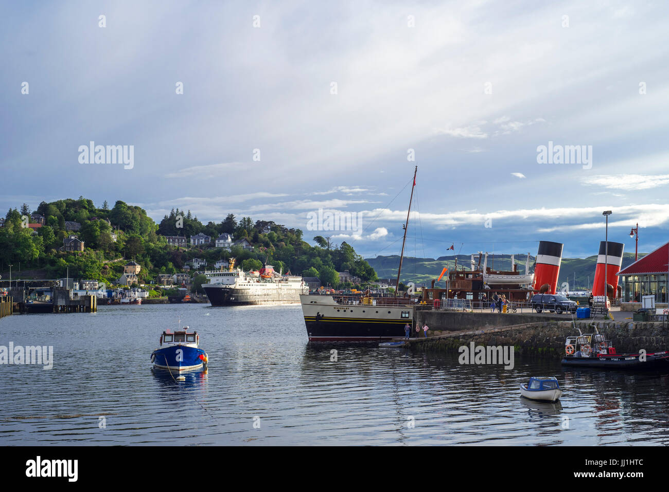 Isle of Mull ferry boat from Caledonian MacBrayne and PS Waverley, last seagoing paddle steamer in the port of Oban, - Stock Image
