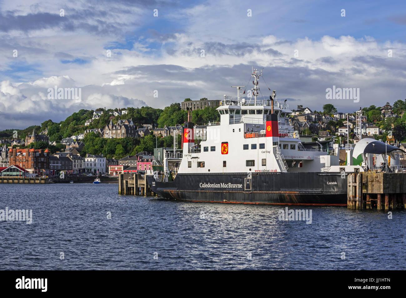 MV Coruisk ferry boat from Caledonian MacBrayne docked in the Oban port, Argyll and Bute, Scotland, UK Stock Photo