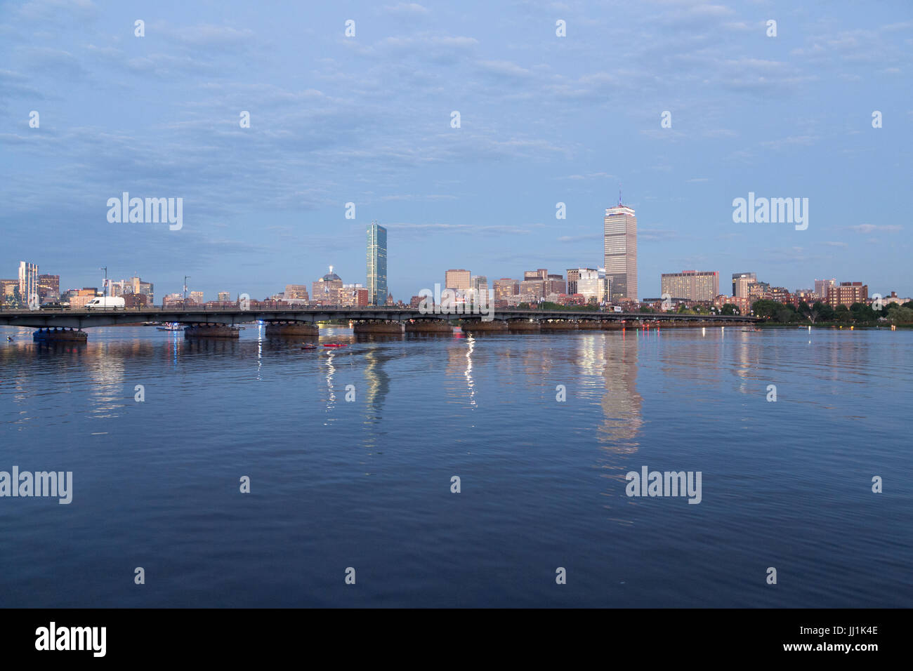 A photograph of the Boston skyline as seen from the Charles River waterfront on the 4th of July 2017. Taken at golden - Stock Image