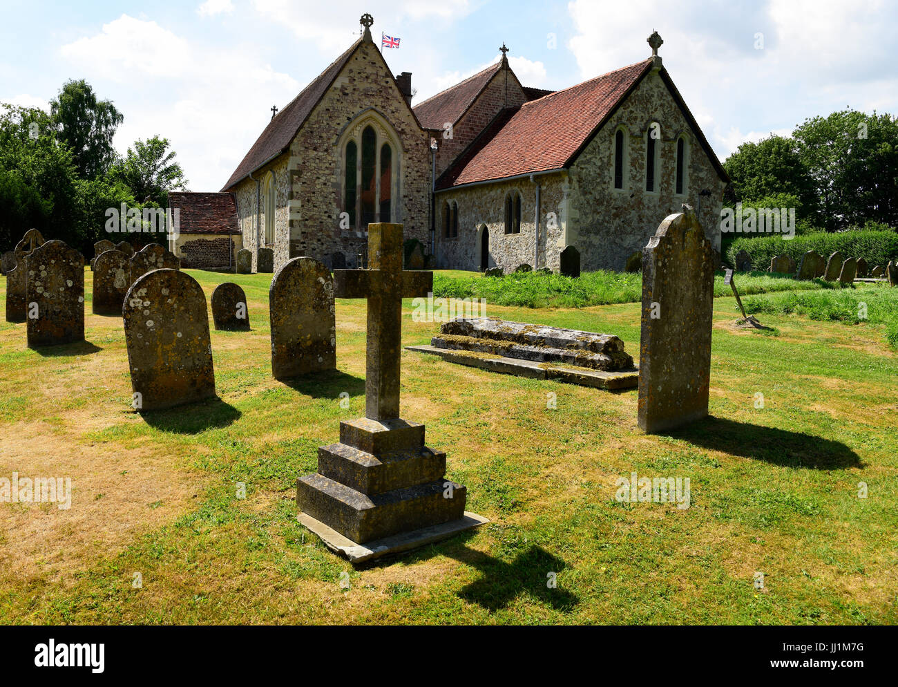 The Grade 1 listed St Mary the Virgin Church dating from the late 12th century in the village of Selborne, Hampshire, Stock Photo