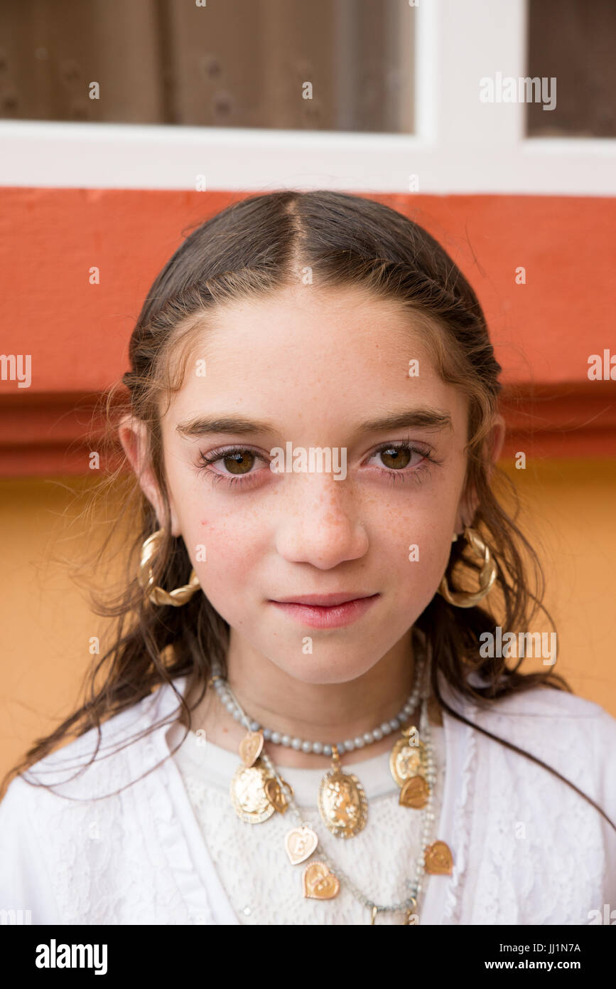 Portrait of a young Roma gyspy girl, Ivanesti, Romania Stock Photo