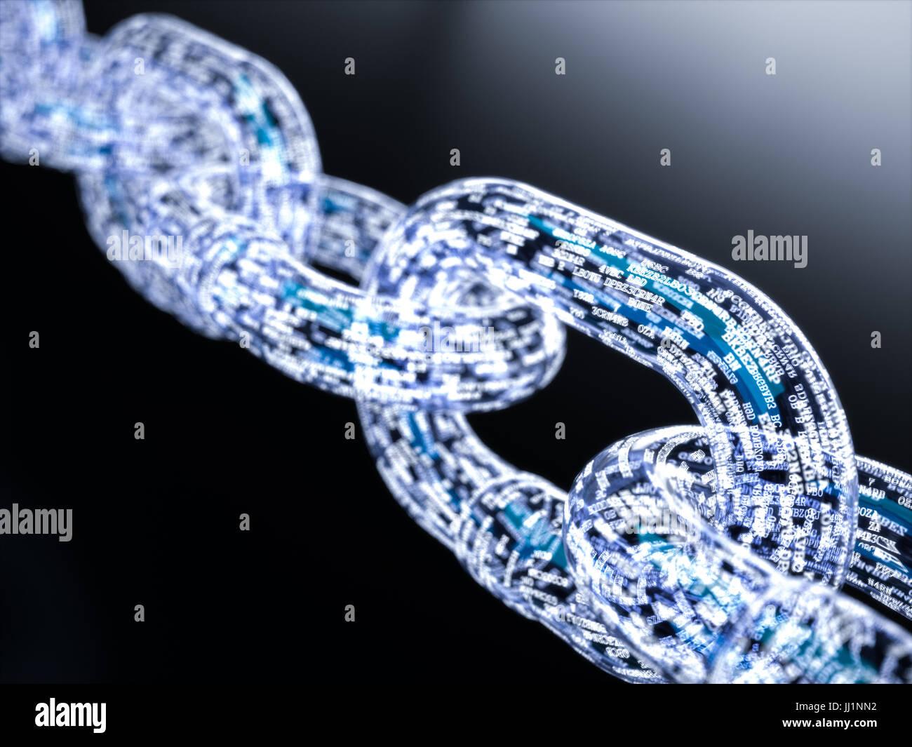 Blockchain digital illuminated shape. Big data node base concept. 3d rendering illustration - Stock Image