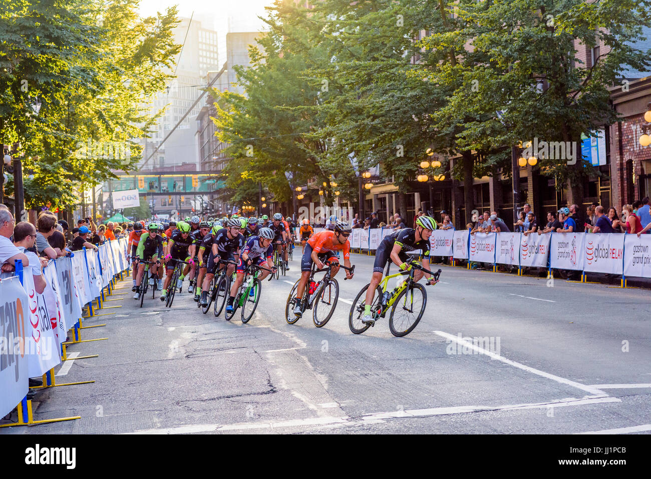 The Global Relay Gastown Grand Prix cycling race event. Gastown, Vancouver, British Columbia, Canada. - Stock Image