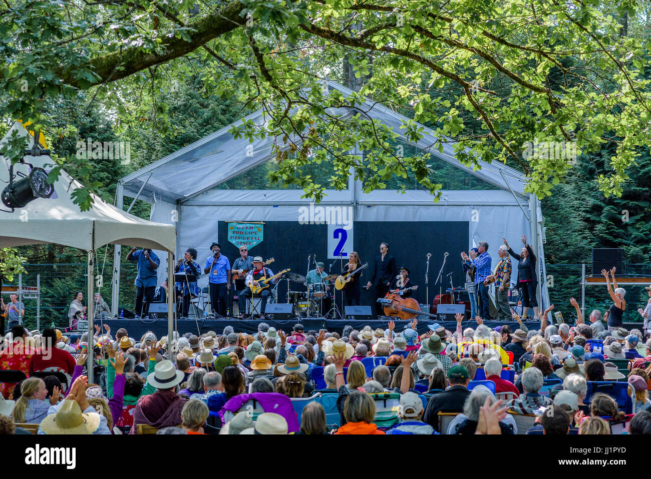 Sunday morning Gospel music Stage 2, 40th Annual Vancouver Folk Music Festival, Vancouver, British Columbia, Canada. - Stock Image