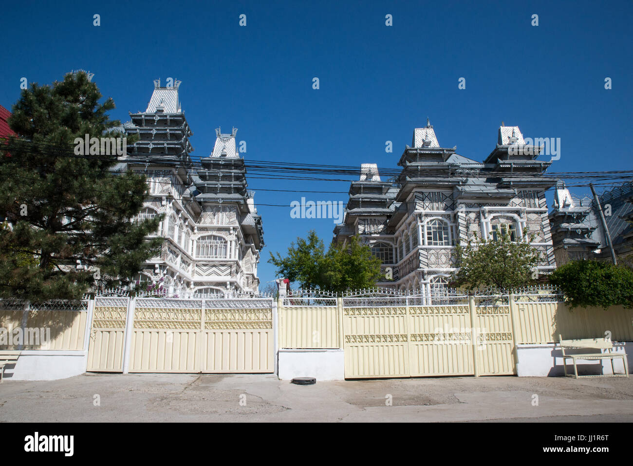 Wealthy house of a Roma gypsy family, Ivanesti, Romania - Stock Image