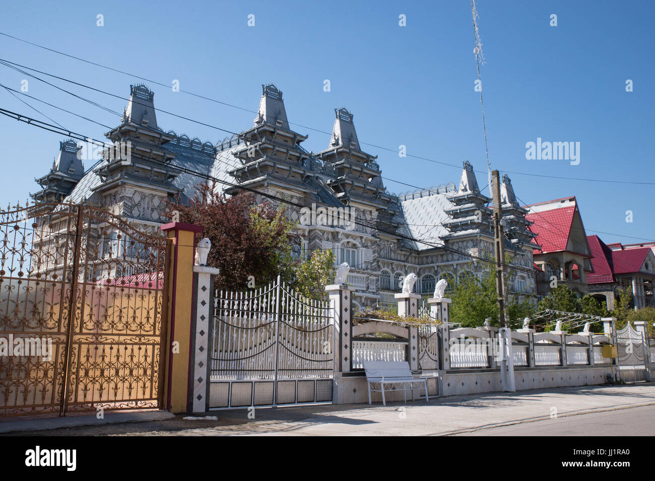 Wealthy house of a Roma gypsy family, Ivanesti, Romania Stock Photo