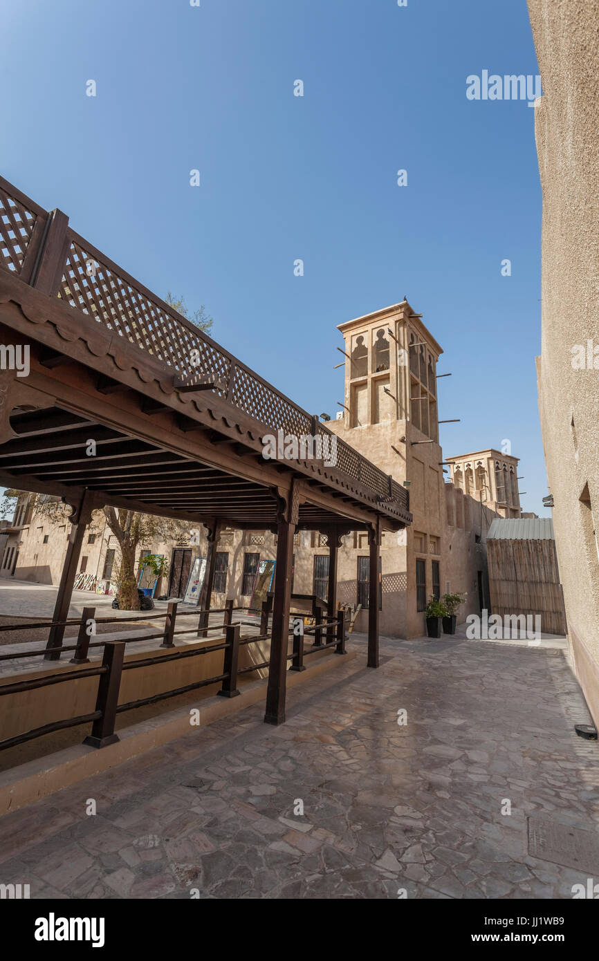 Wall of Old Dubai, Al Fahidiold souk area, Bastakiya, Dubai, United Arab Emirates Stock Photo