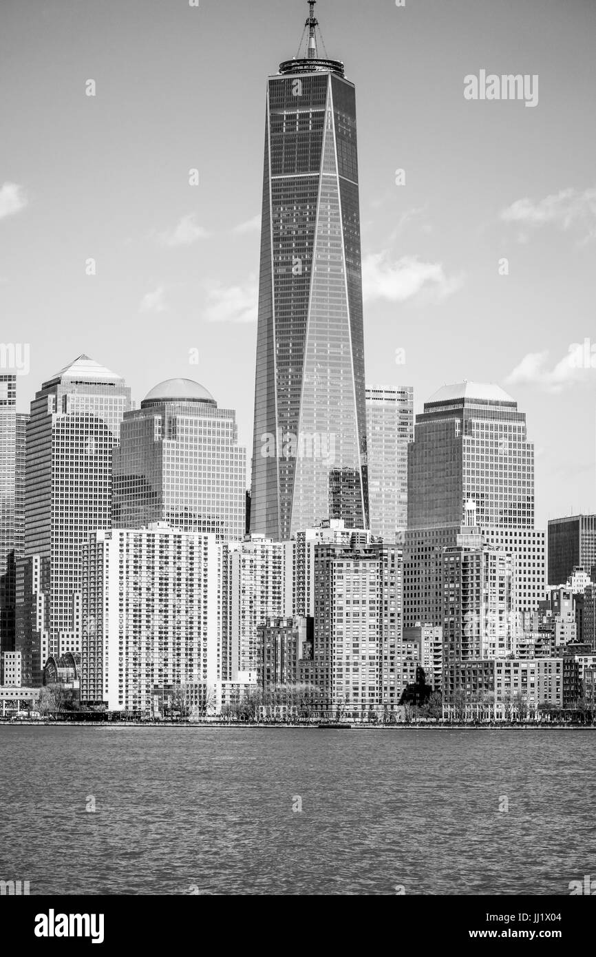 Impressive One World Trade Center Building in the Manhattan - MANHATTAN / NEW YORK - APRIL 2, 2017 - Stock Image