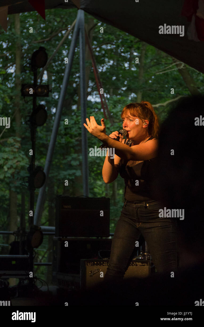 Singer Amelia Meath, half of Sylvan Esso, performing in the Sunrise Arena, Latitude Festival, Suffolk. - Stock Image