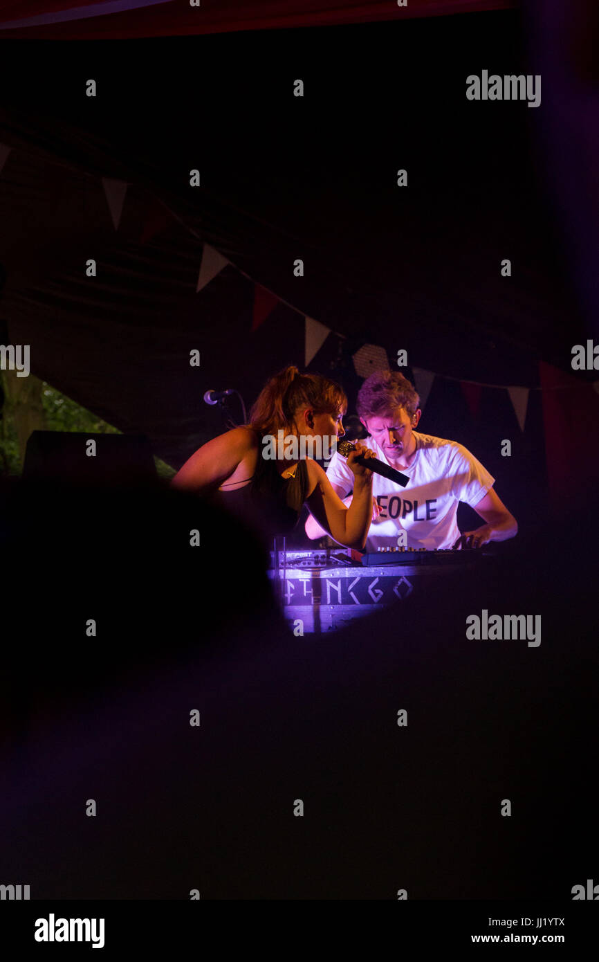 Amelia Meath and Nick Sanborn, aka Sylvan Esso, performing in the Sunrise Arena, Latitude Festival, Suffolk. - Stock Image