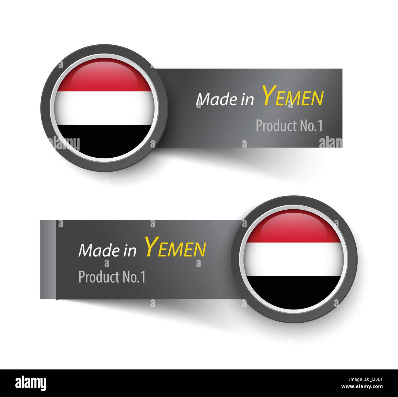 Flag icon and label with text made in Yemen . Stock Vector