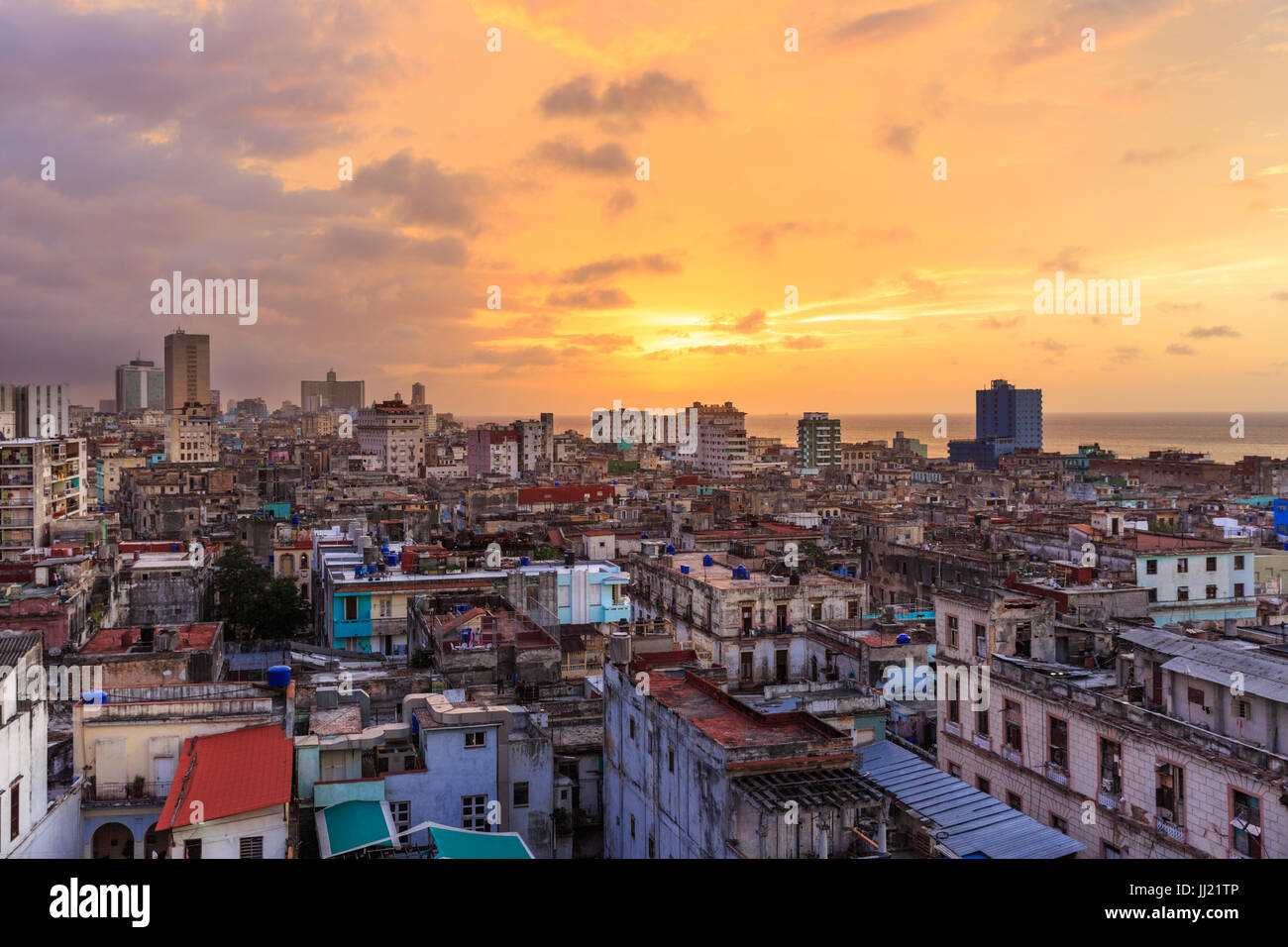 Sunset over Old Havana, La Habana Vieja from above, historic old town rooftop view, Havana, Cuba - Stock Image