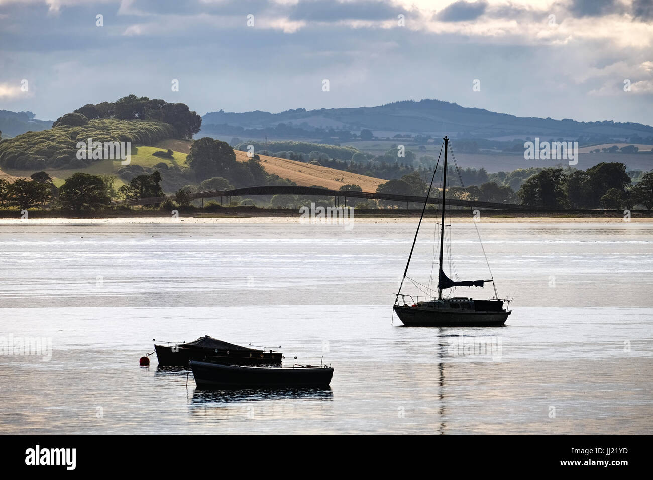 Evening light on the Exe Estuary, from Lympstone - Stock Image