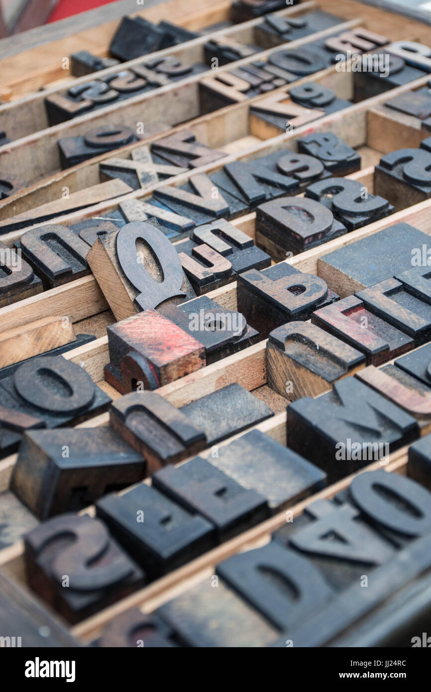 Vintage wooden typeset letters in a printers tray at a flea
