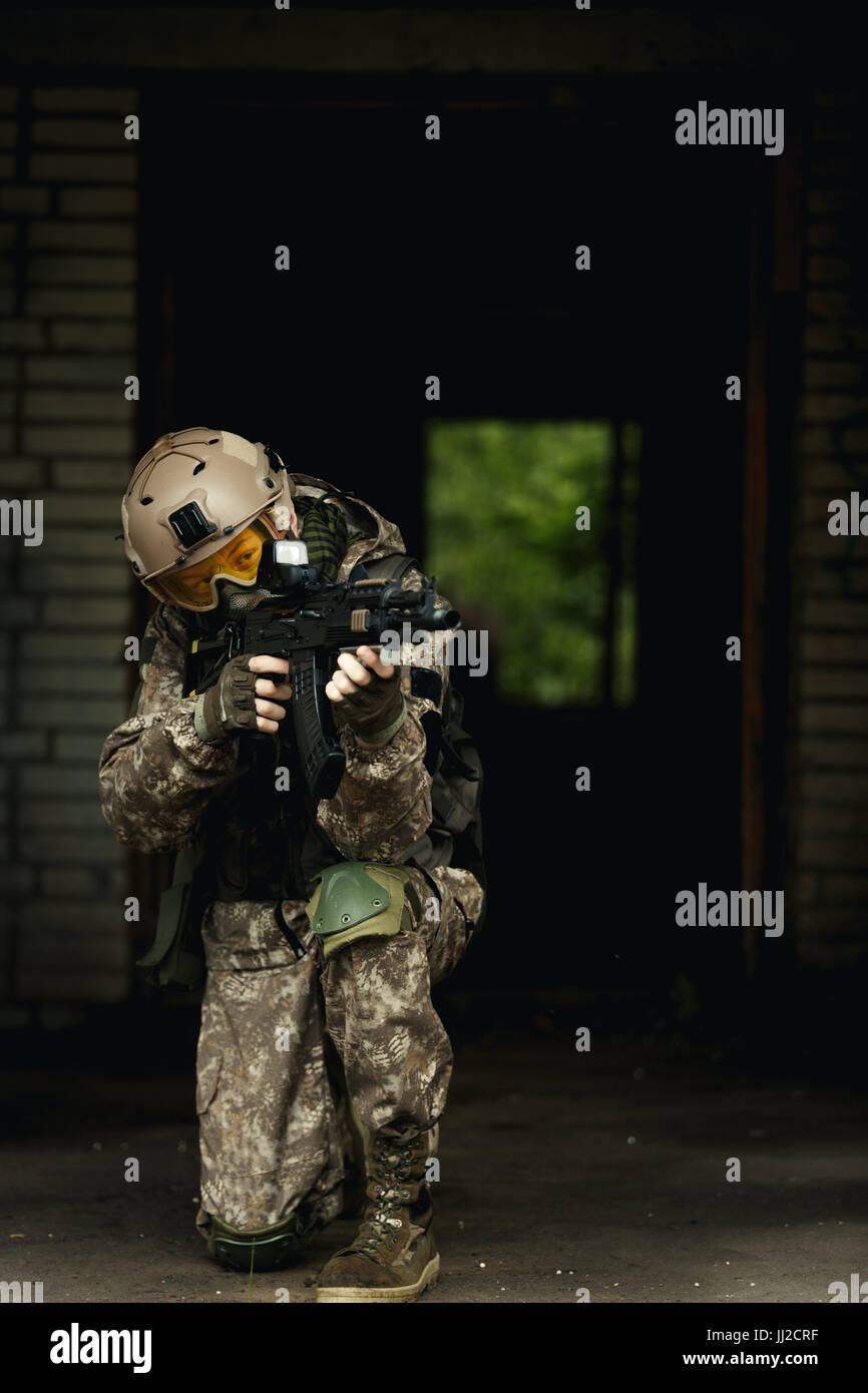 One striped player in camouflage - Stock Image