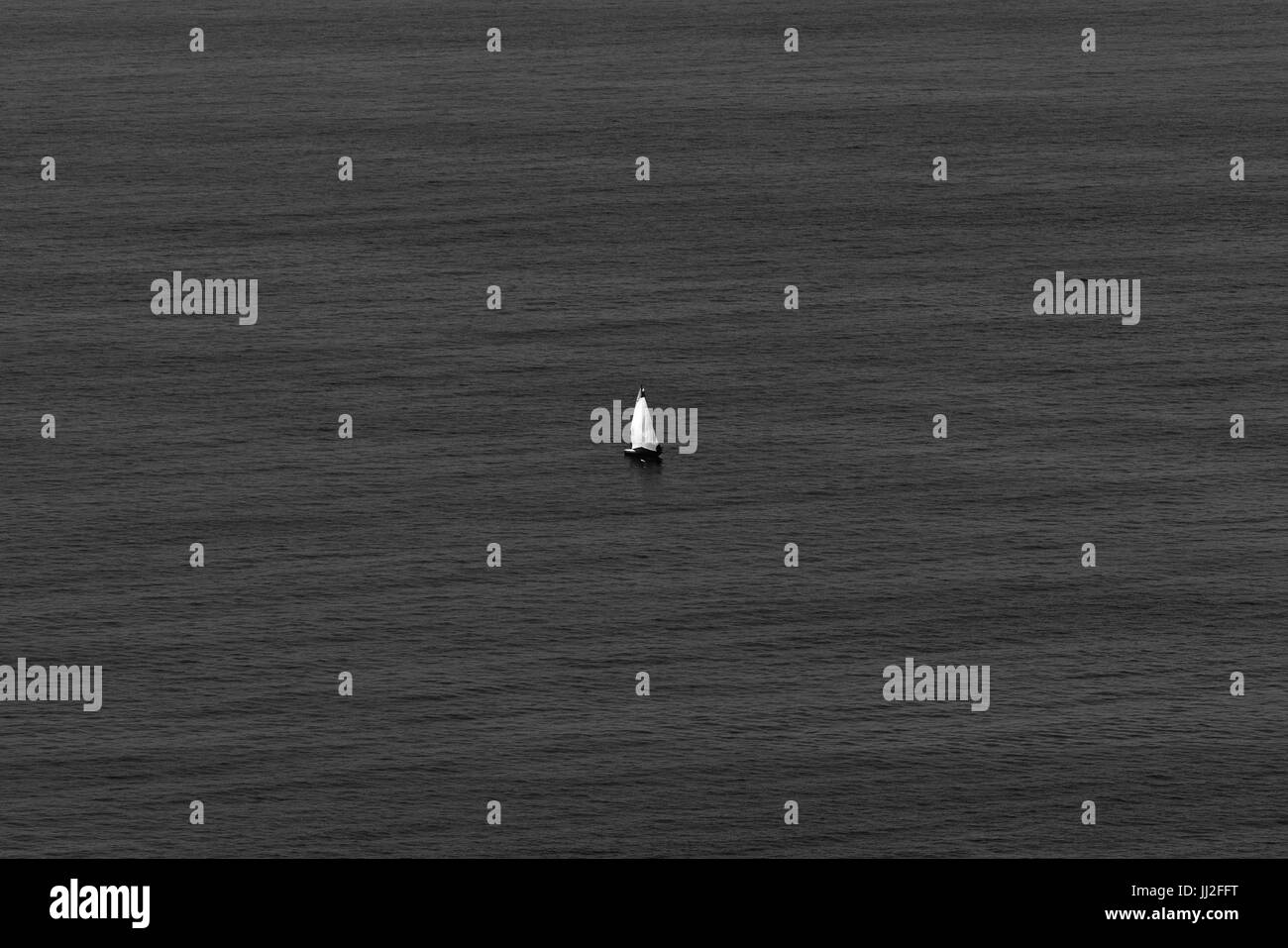 Black and white image of a lonely boat in a calm ocean (San Sebastian, Guipuzcoa, Basque country, Spain). Stock Photo