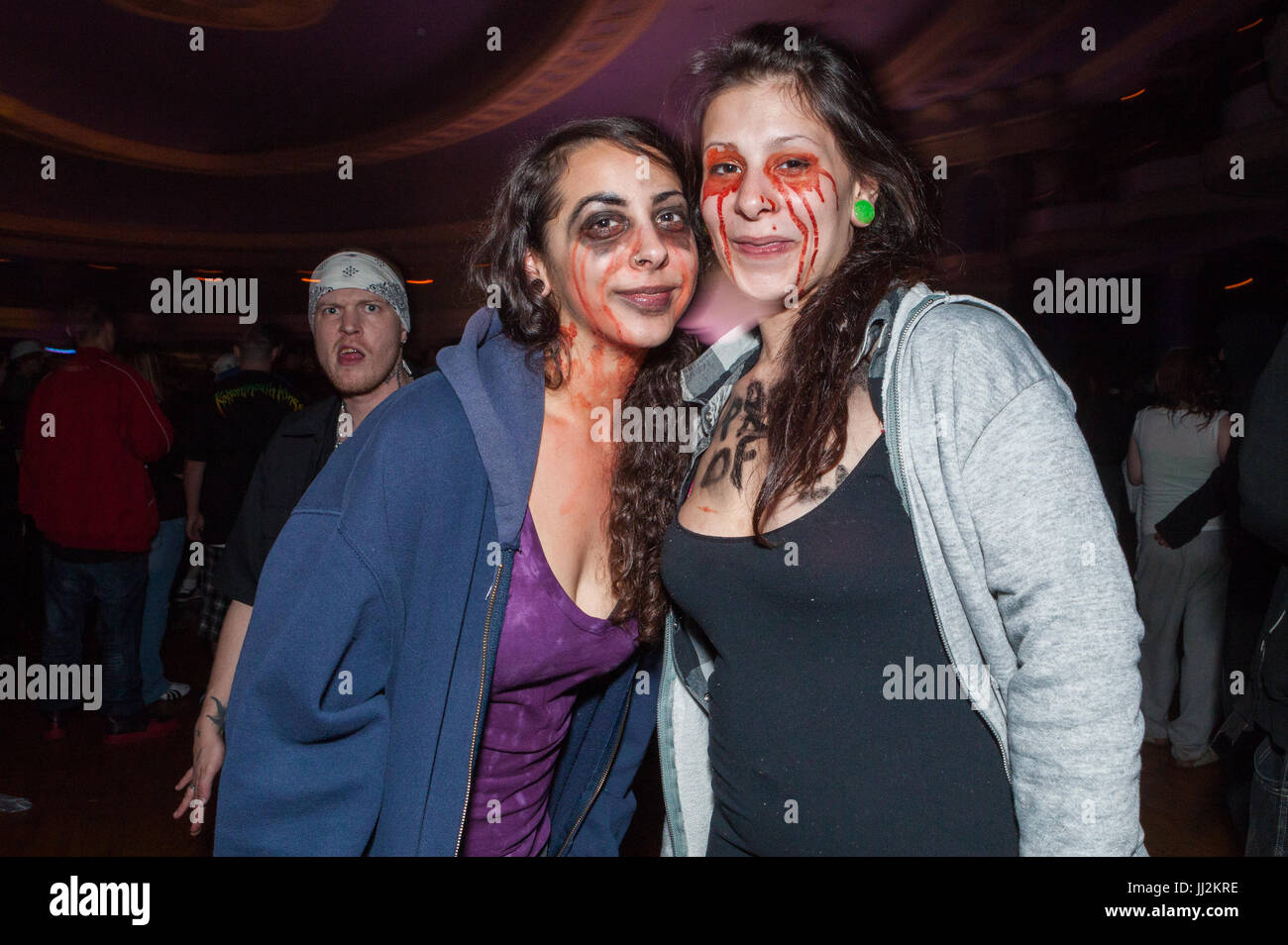 Juggalos (Insane Clown Posse fans) at an ICP concert at the Eagle/Rave club in Milwaukee, Wisconsin. - Stock Image