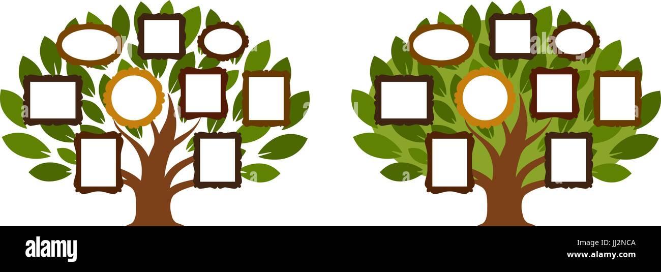 Family tree, genealogy icon or logo. Cartoon vector illustration - Stock Image