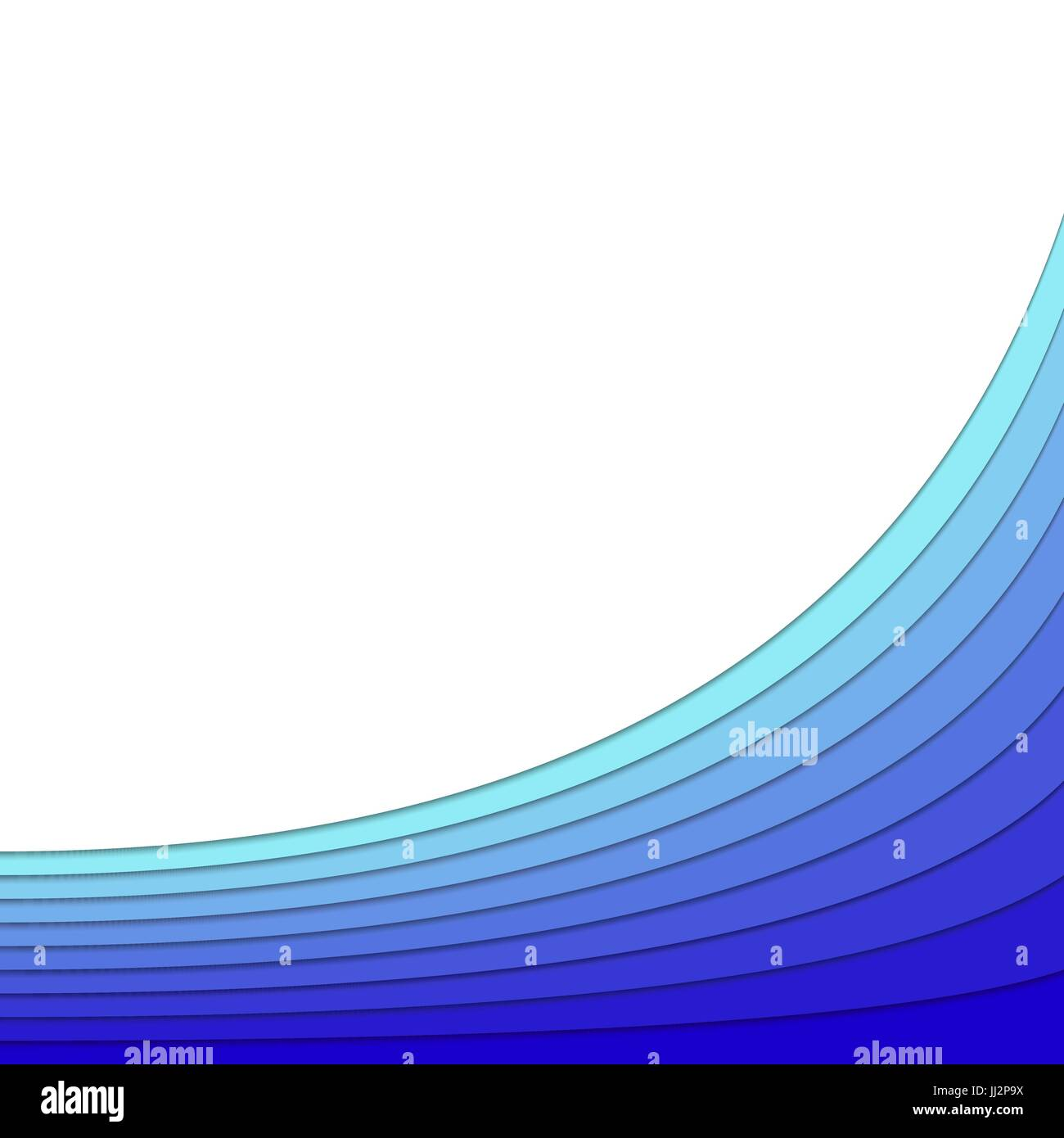 background from blue curved stripe layers vector poster design with 3d effect for spa concept