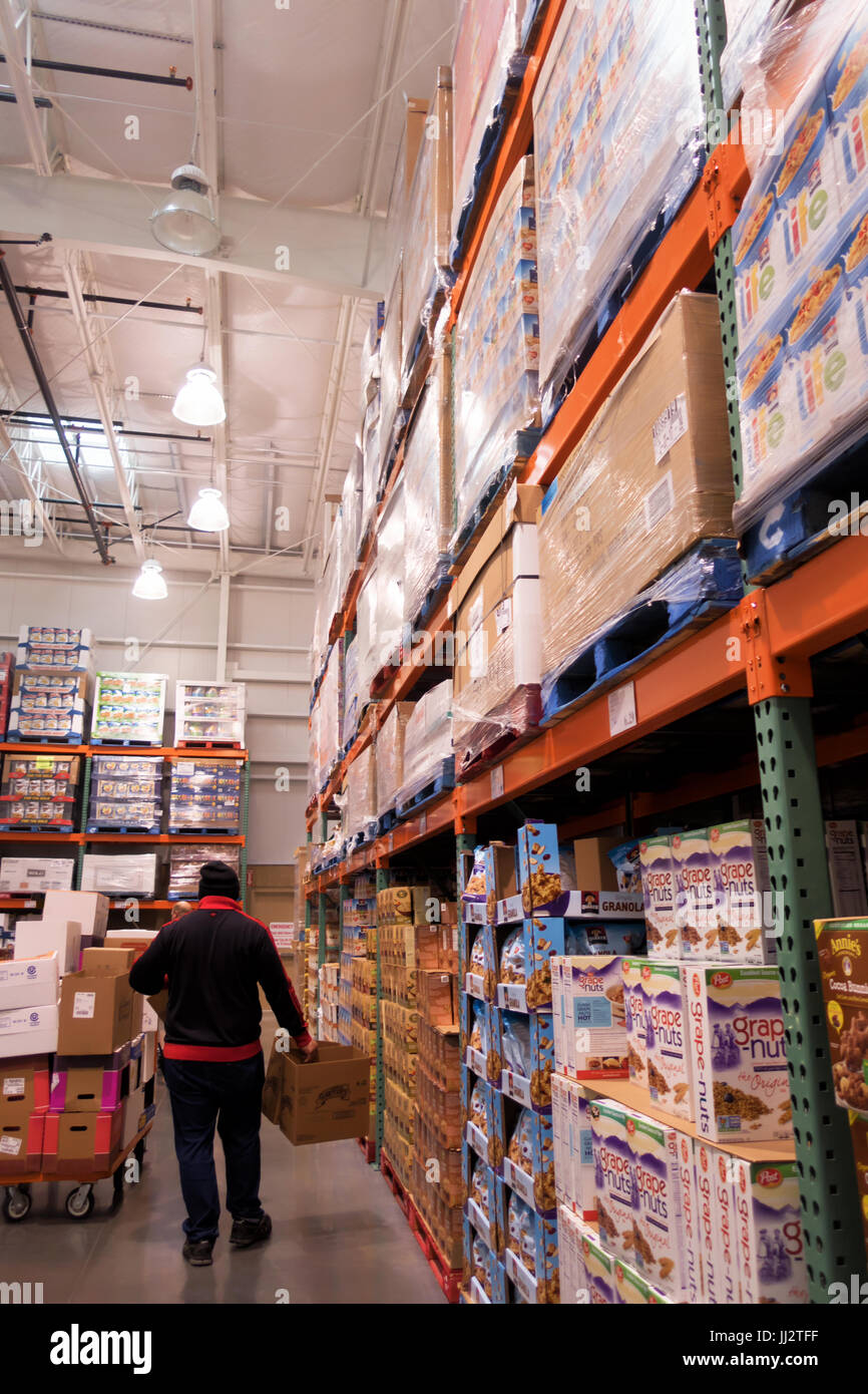 A Row Of Cereal Boxes At Costco Warehouse