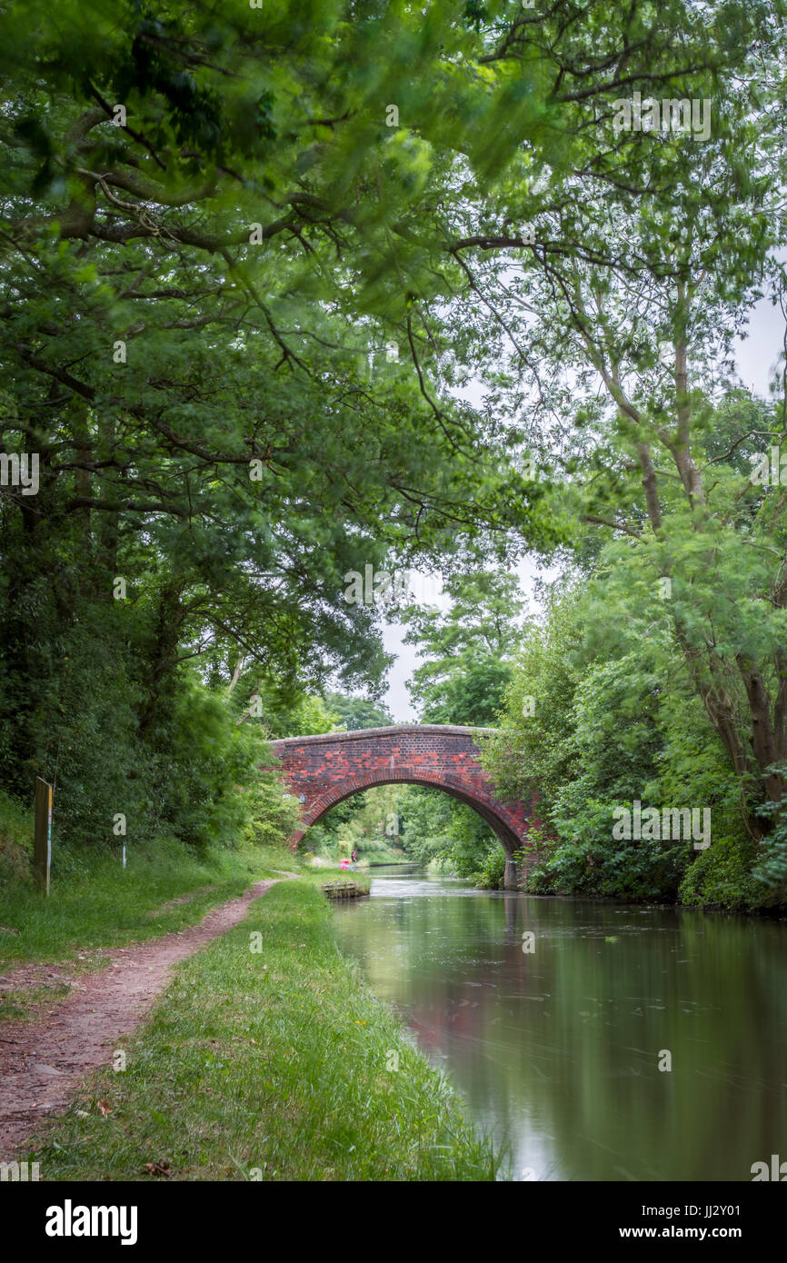Birmingham to Stratford Canal, Long Exposure, Scenic towpath - Stock Image