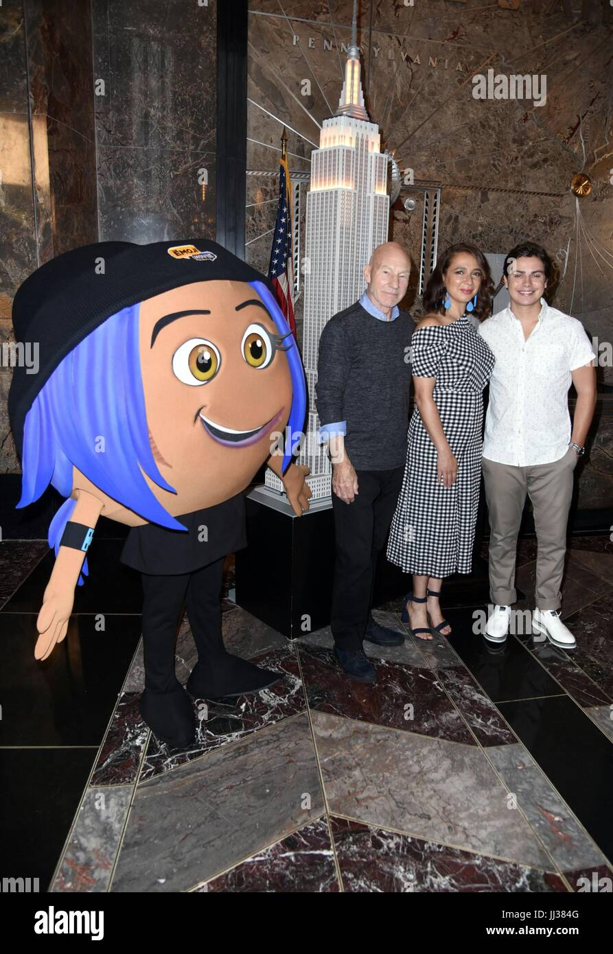 New York, NY, USA. 17th July, 2017. Jake T. Austin, Maya Rudolph, Patrick Stewart in attendance for THE EMOJI MOVIE - Stock Image