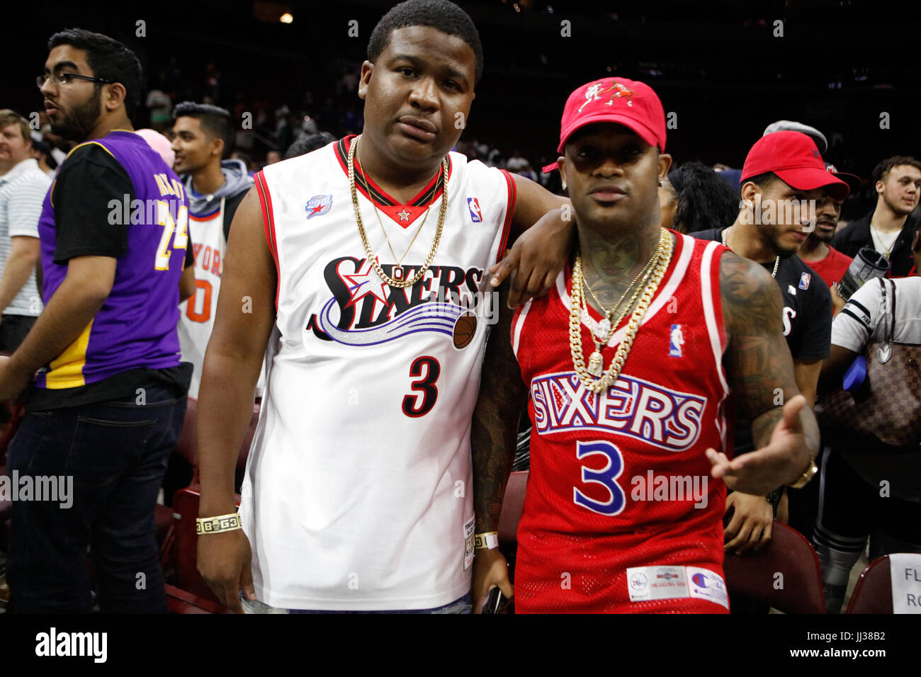 Rappers DNA Conceited attend Big 3 league Phiily,PA 7/16/17 - Stock Image