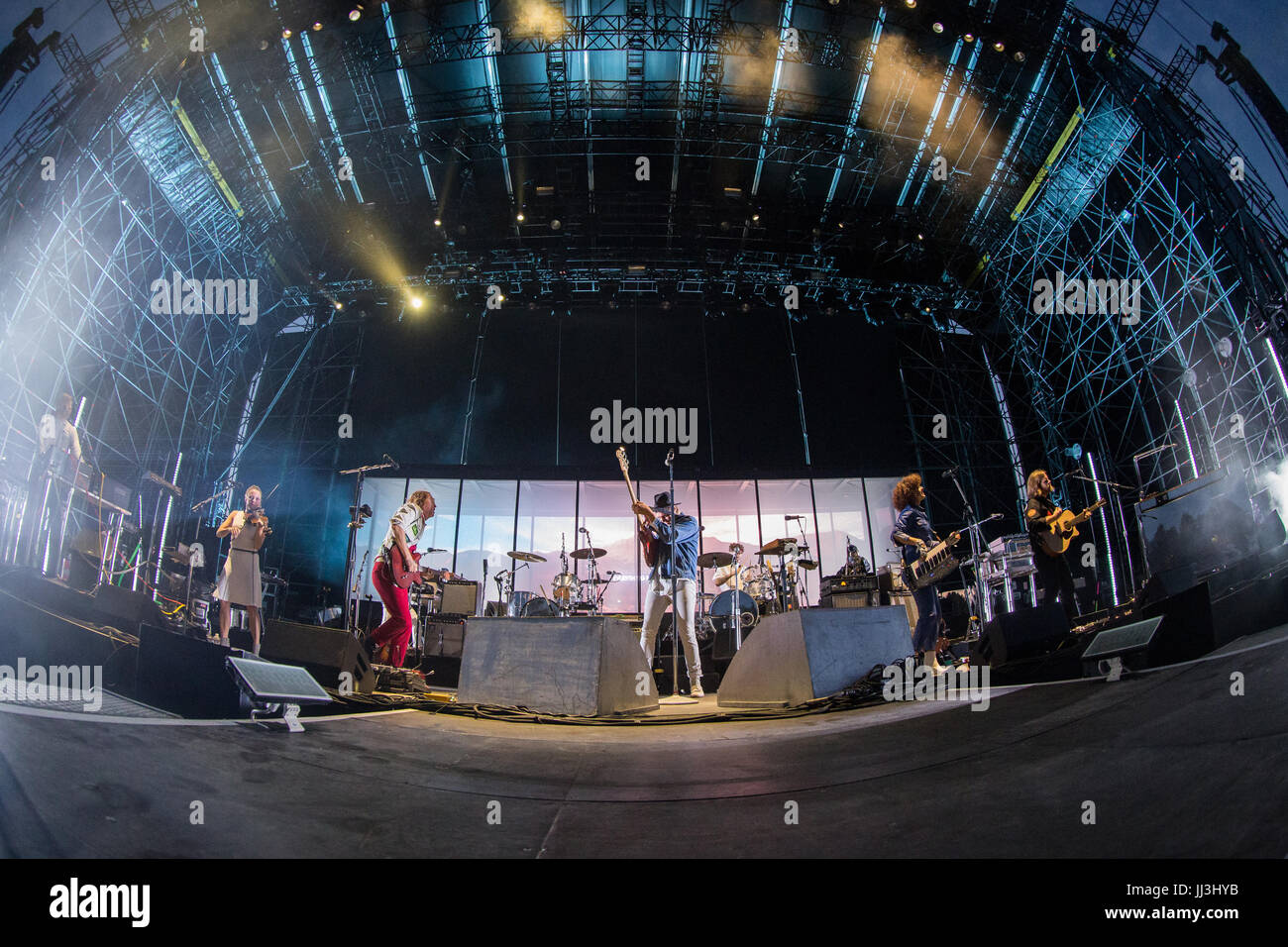 Milan, Italy. 17th July, 2017. The Canadian indie-rock band ARCADE FIRE performs live on stage at Ippodromo del - Stock Image