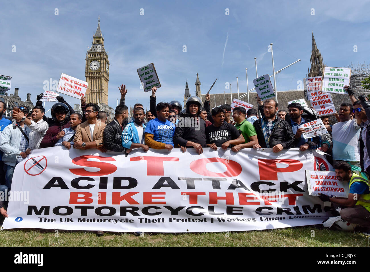 London, UK. 18th July, 2017. Moped riders stage a protest in Parliament Square demanding that the government act - Stock Image