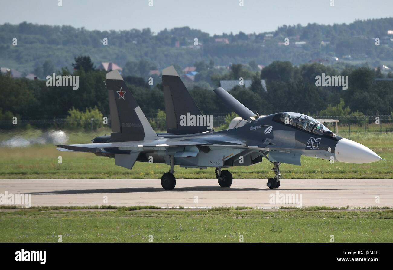 Zhukovsky, Russia. 18th July, 2017. A Russian Sukhoi T-50 fighter taxis during the International Aviation and Space - Stock Image