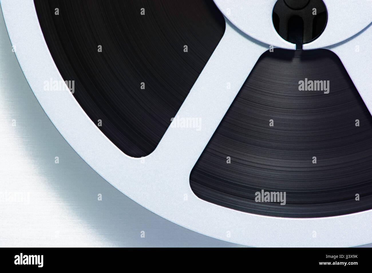 Macro of vintage reel-to-reel tape - Stock Image