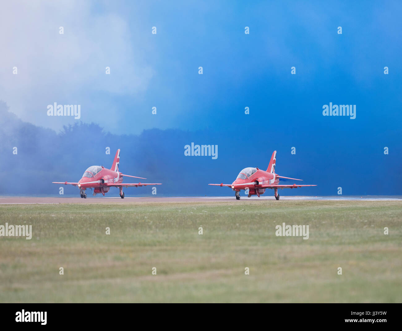 Air Show at RAF Fairford, Gloucestershire hosting the Royal International Air Tattoo, 2017.Red Arrows about to take Stock Photo