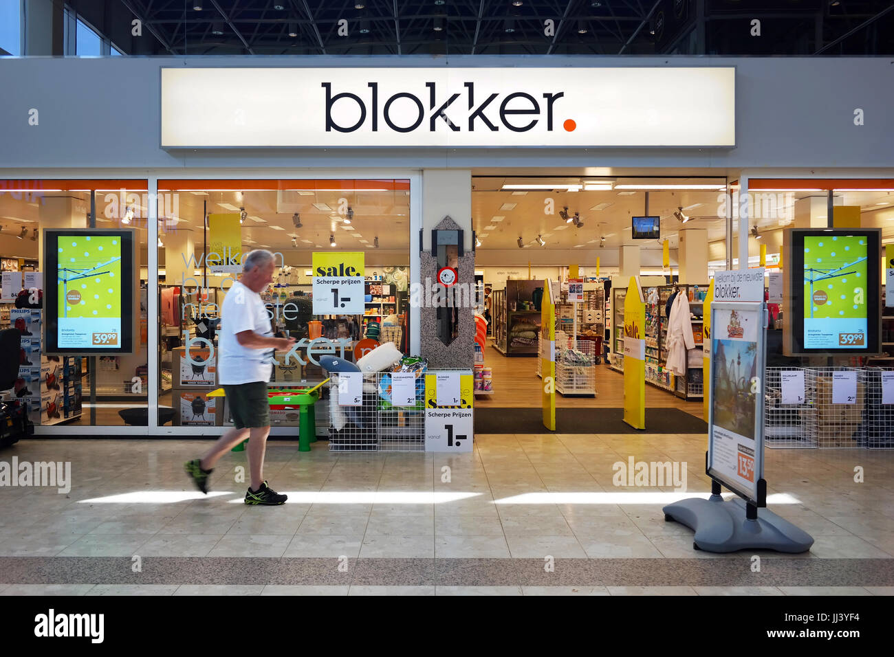 Renewed corporate identity of a Blokker store. - Stock Image