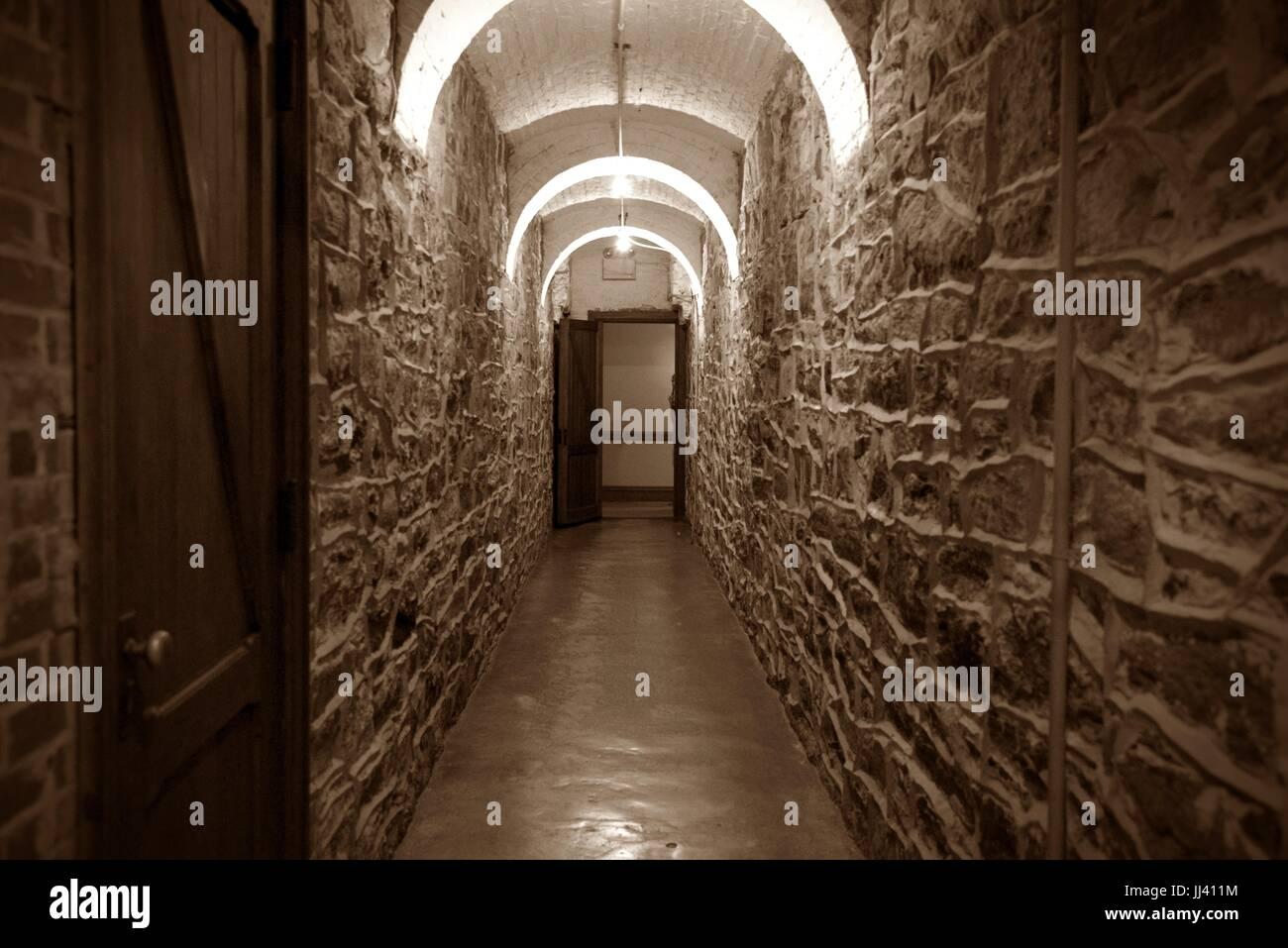 Hallway in Biltmore Estate basement - Stock Image
