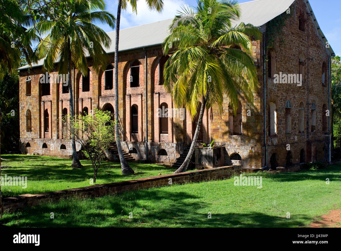 A former hospital on Salvation's islands. Inmates of former penal colony were treated there. - Stock Image