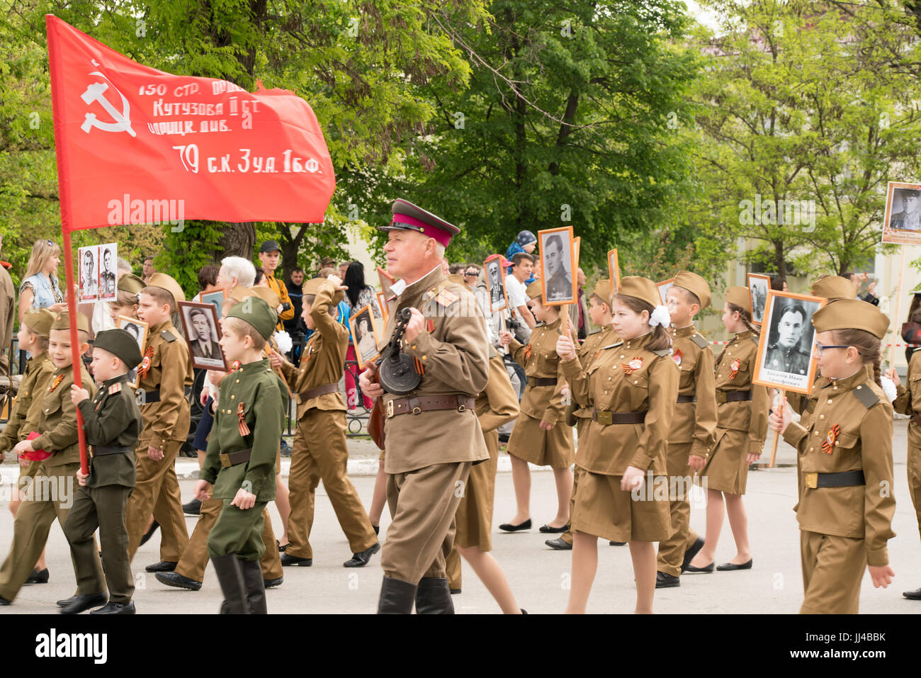 Taganrog, Rostov region, RUSSIA - MAY 09.2017: Procession immortal regiment. - Stock Image