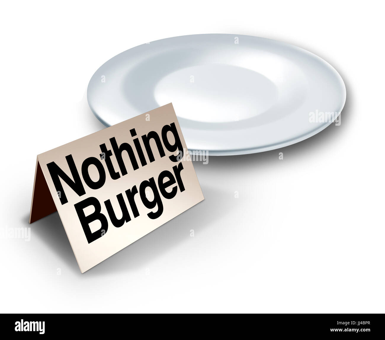 Nothing burger or nothingburger phrase concept as an empty plate with text on a label representing fake news investigation - Stock Image
