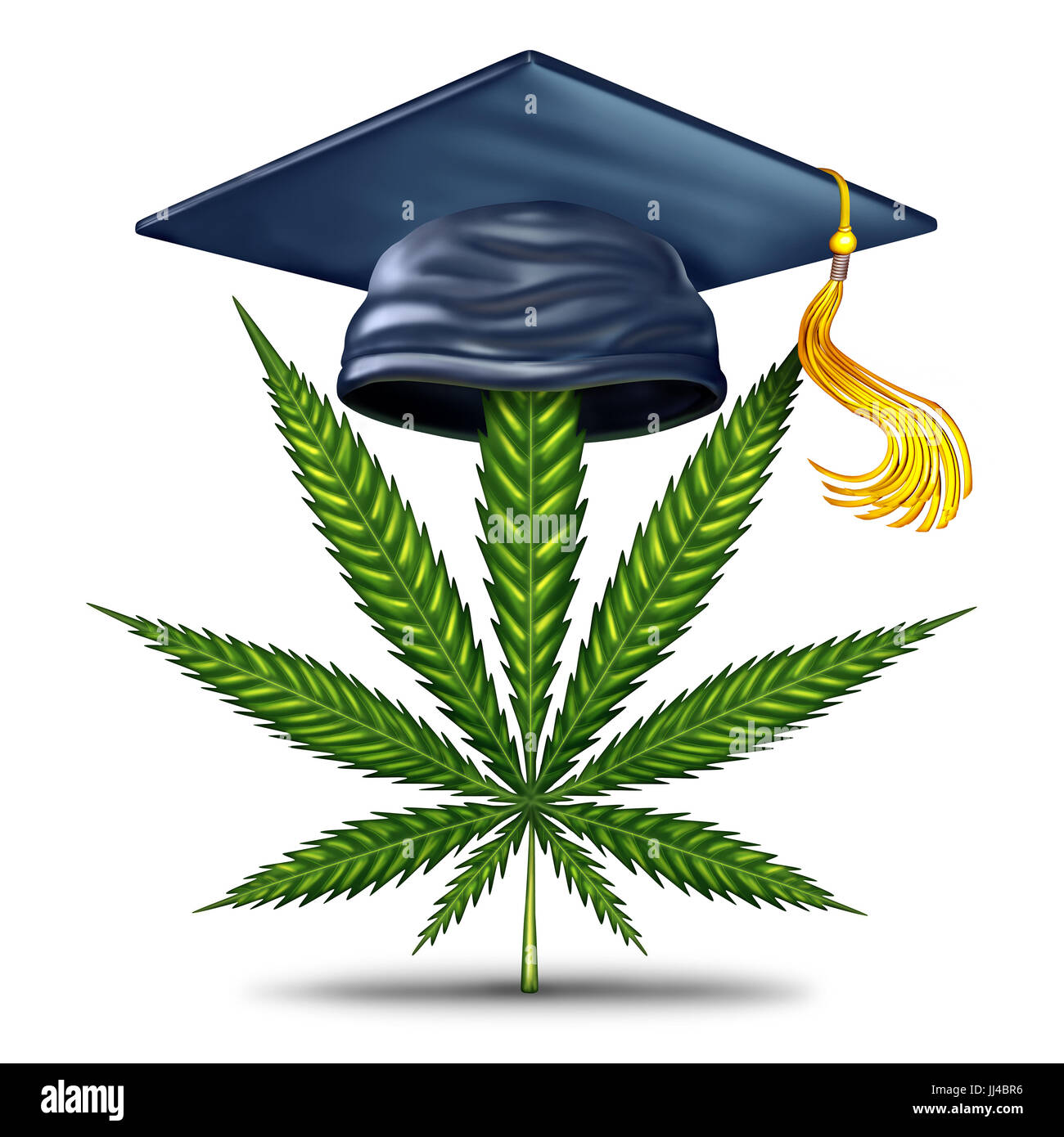Marijuana education and cannabis information as a graduation mortar board with a green leaf as a medical weed or - Stock Image