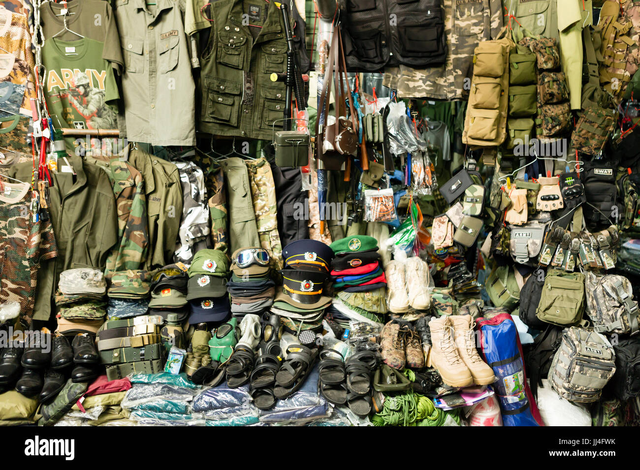 Dan Sinh Market known as the War Surplus Market is in Ho Chi Minh City, Vietnam and is known for Vietnam War surplus - Stock Image